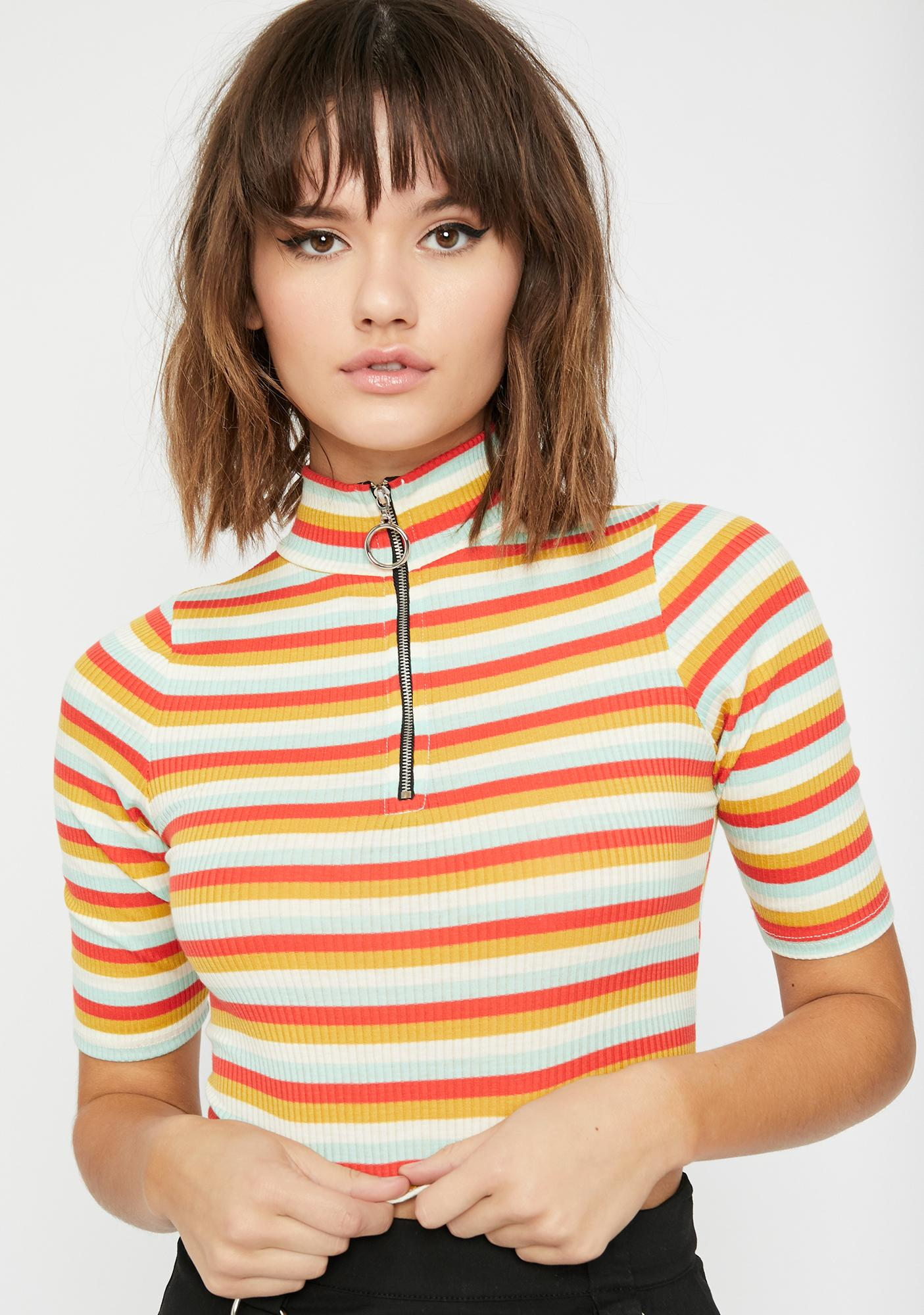 Vibrant Slay Striped Top