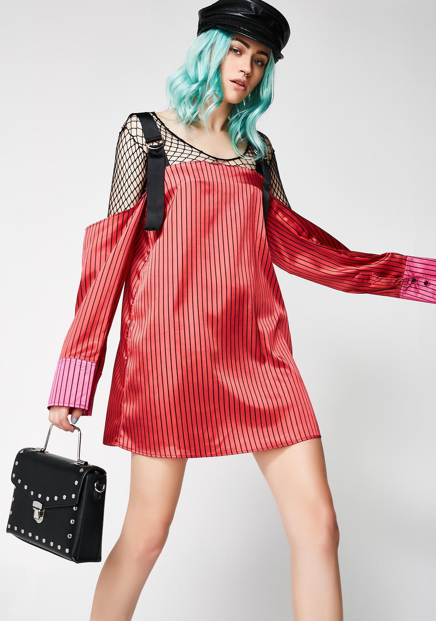 Jaded London Printed Satin Cold Shoulder Mini Dress