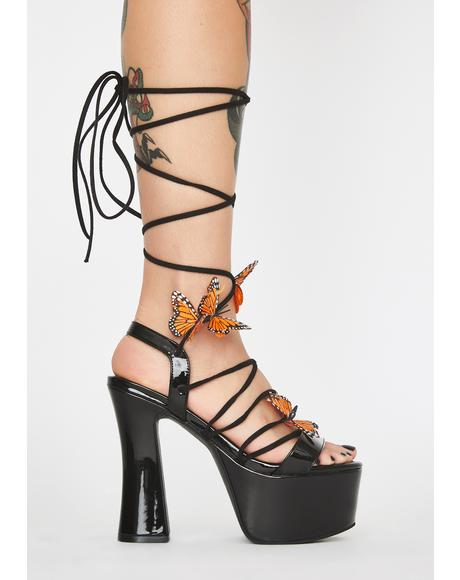Dark Pixie Queen Lace-Up Heels