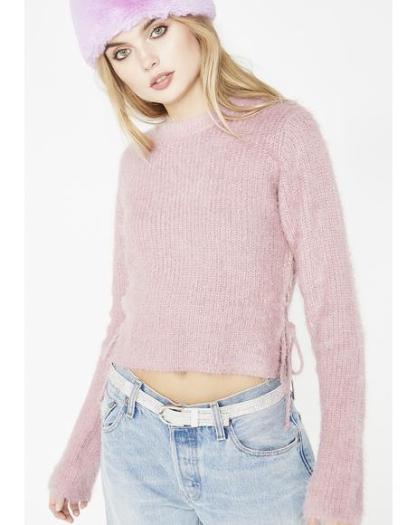 Blush My Go To Fuzzy Sweater