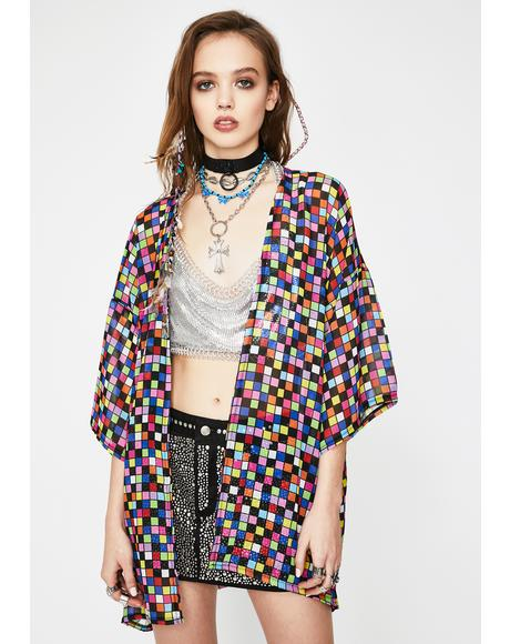 Cubic Chiffon Kimono