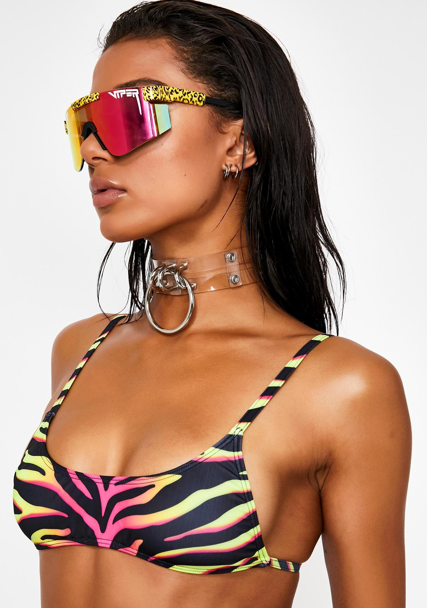 Jaded London Technicolor Tiger Micro Crop Bikini Top