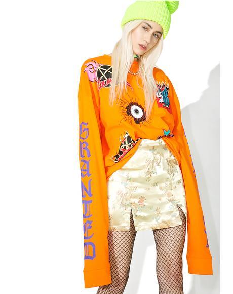 Gold Jacquard Mini Skirt