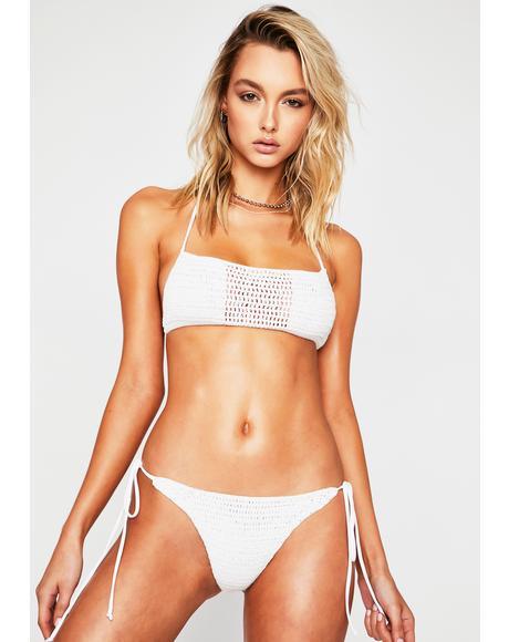 White Fiona Crochet Bikini Bottoms