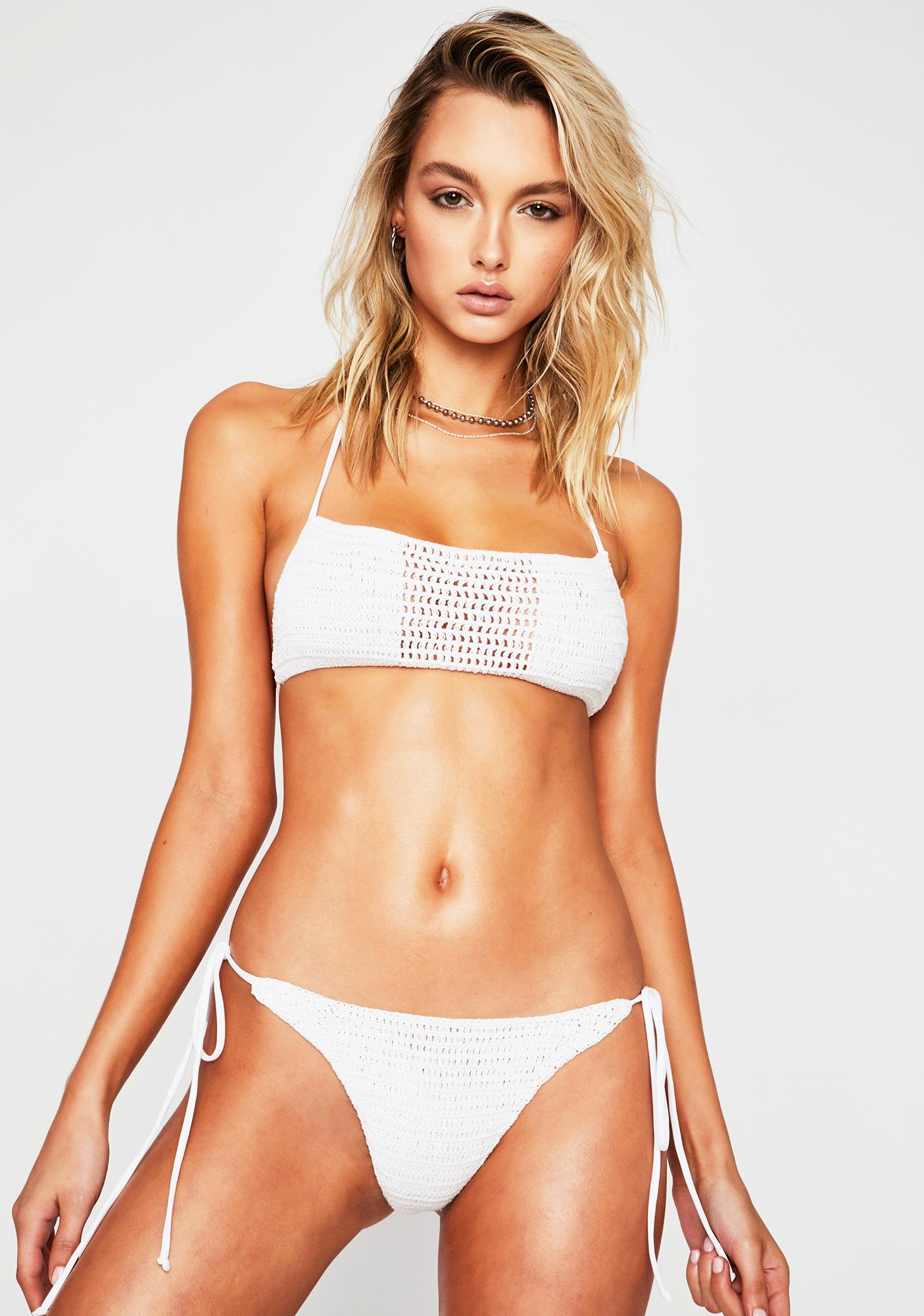 Frankies Bikinis White Fiona Crochet Bikini Bottoms