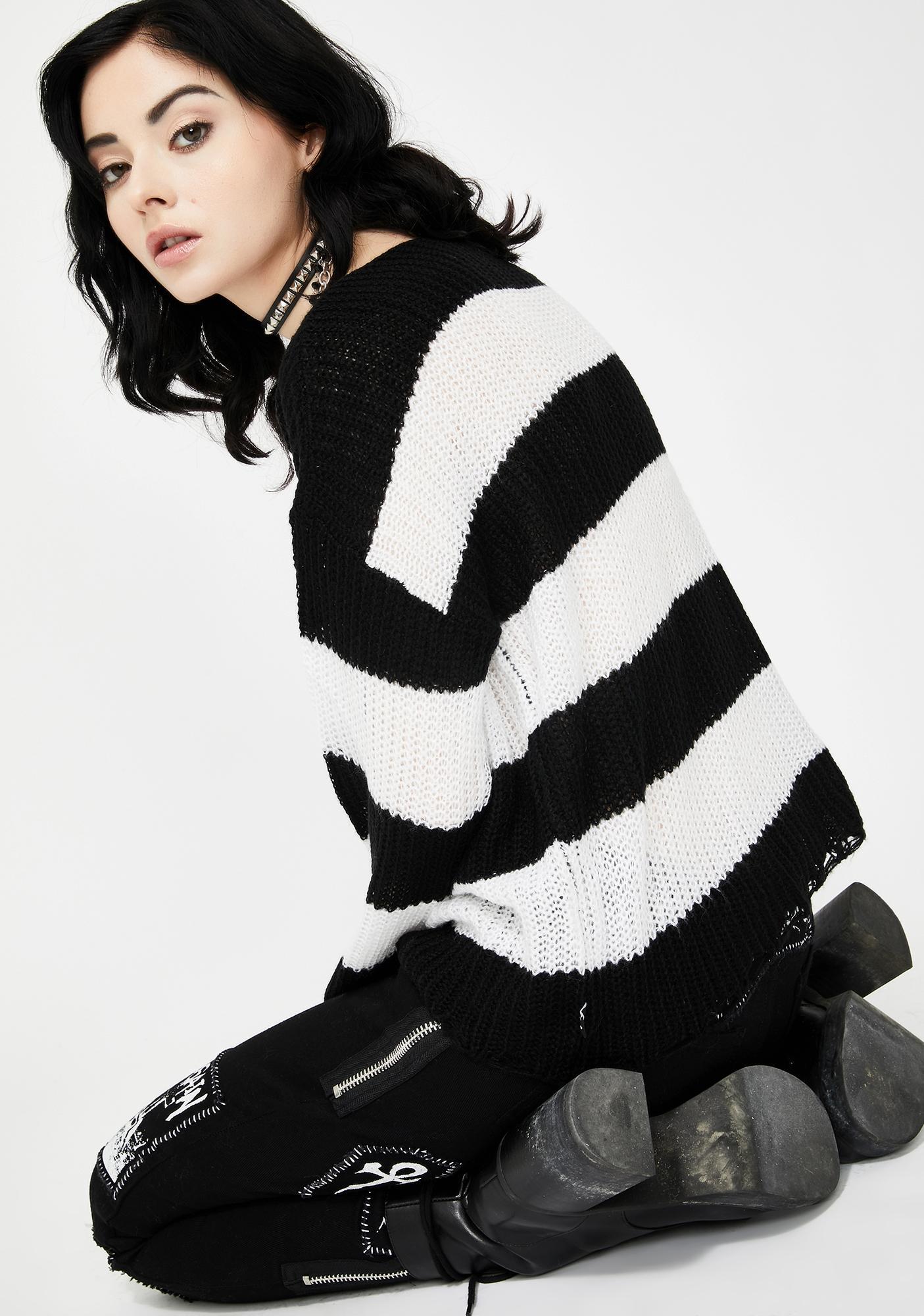 Killstar White Casey Knit Sweater