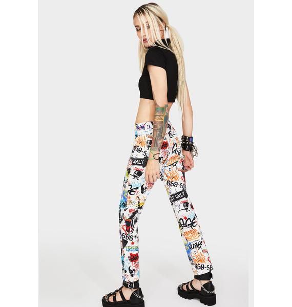 Current Mood Writing's On The Wall Skinny Jeans