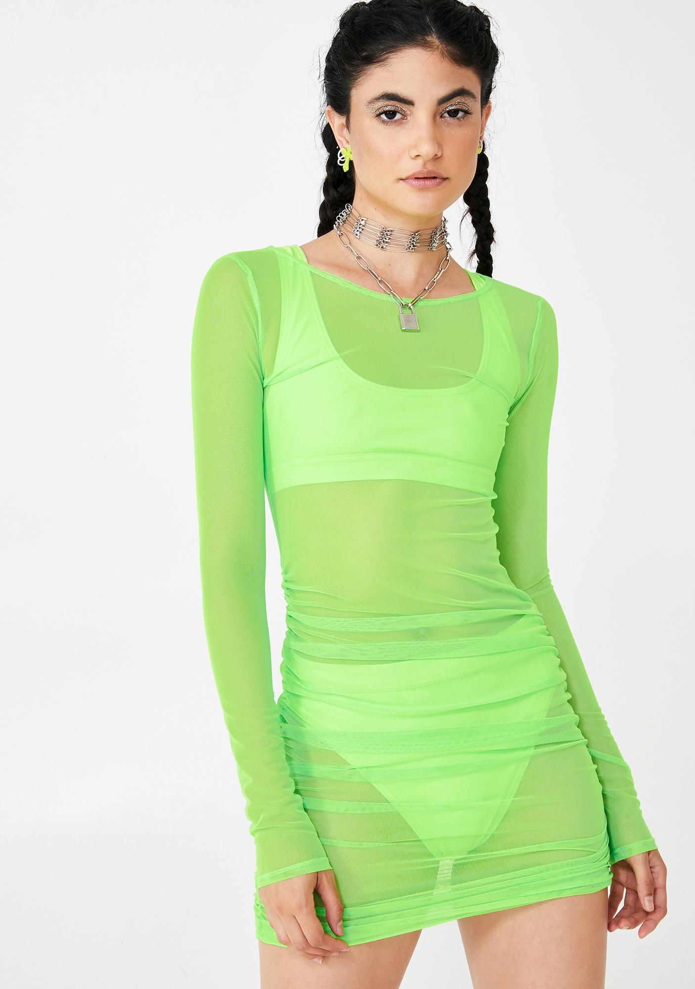 BADGAL BLVD Cash Baecation Mesh Ruched Dress
