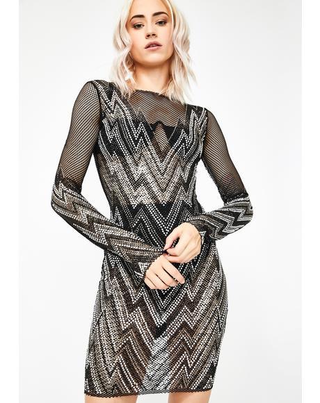 Staggered Glamour Rhinestone Dress