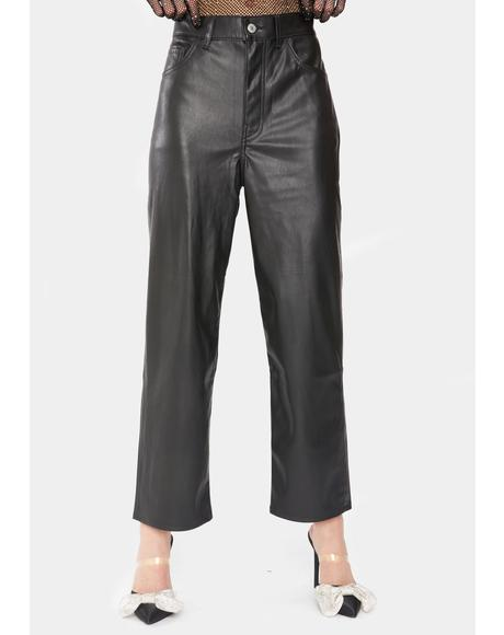 Night Faux Leather Ribcage Pants