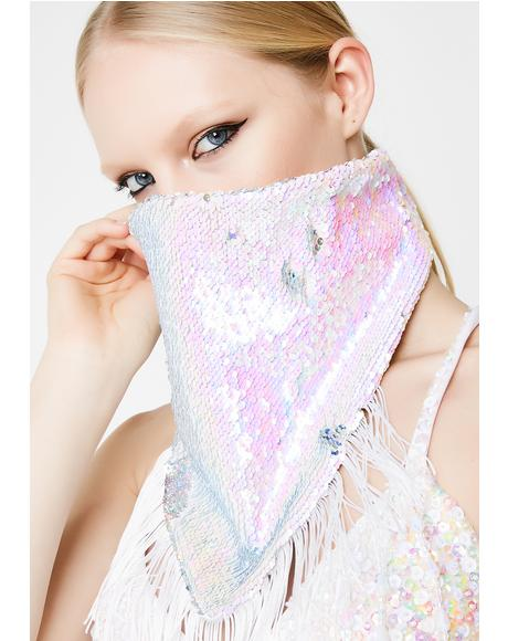 Silver And White Double Sequin Bandana