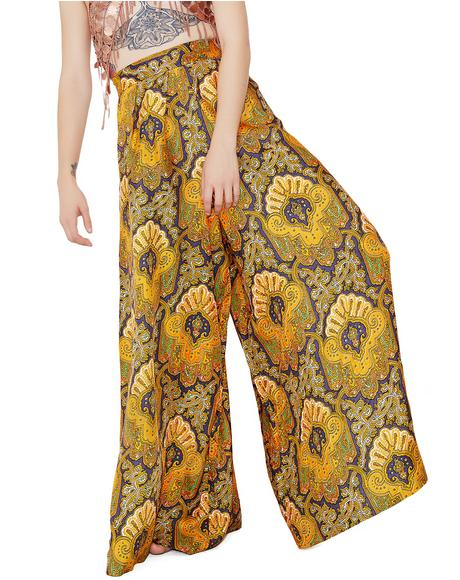 Vintage Paisley Wide Leg High Waisted Pants