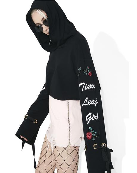 Time Leap Girl Cropped Flare Hoodie