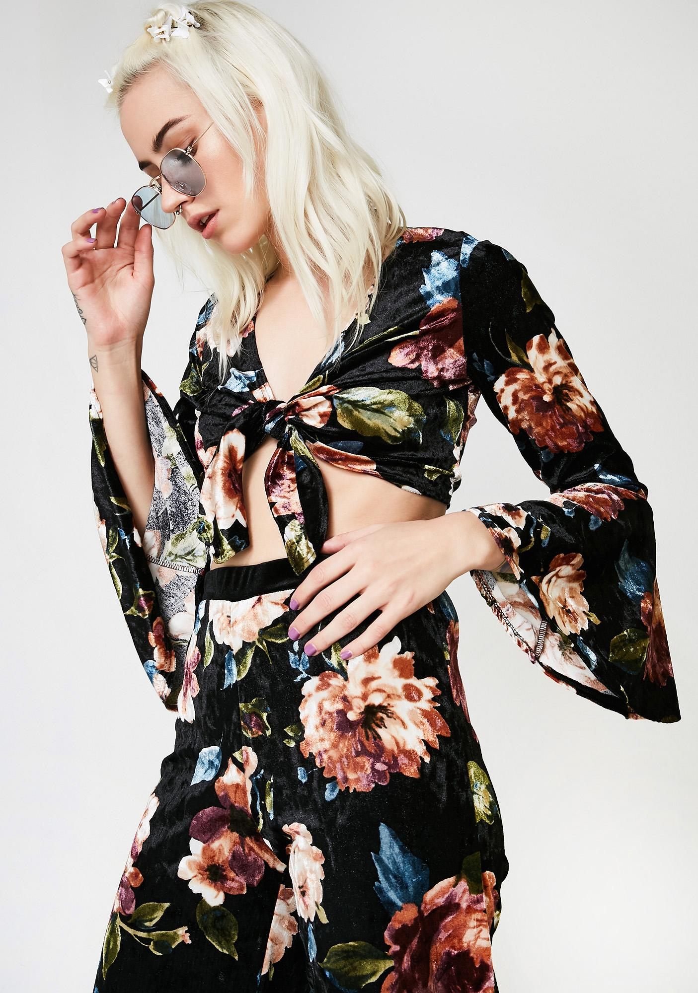 Path Of Petals Velvet Crop Top