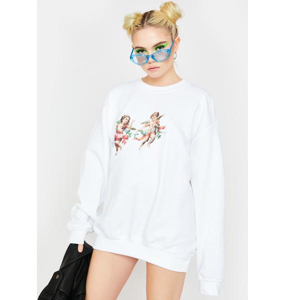 Daisy Street Cherub Oversized Crewneck Sweatshirt