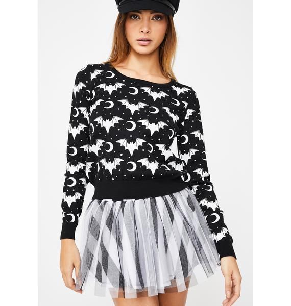 Too Fast Batty Betch Bat Lady Pullover Sweater