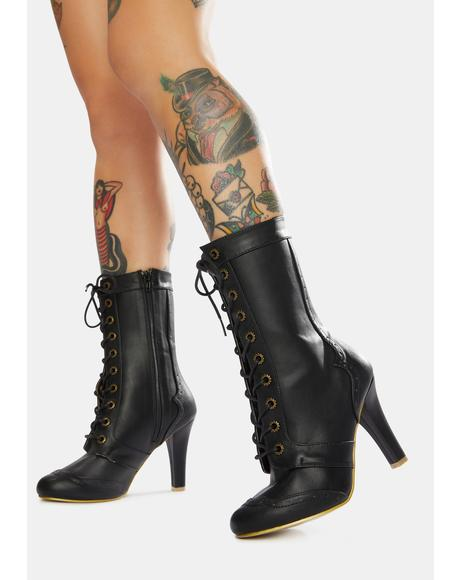 Like Clockwork Lace Up Boots