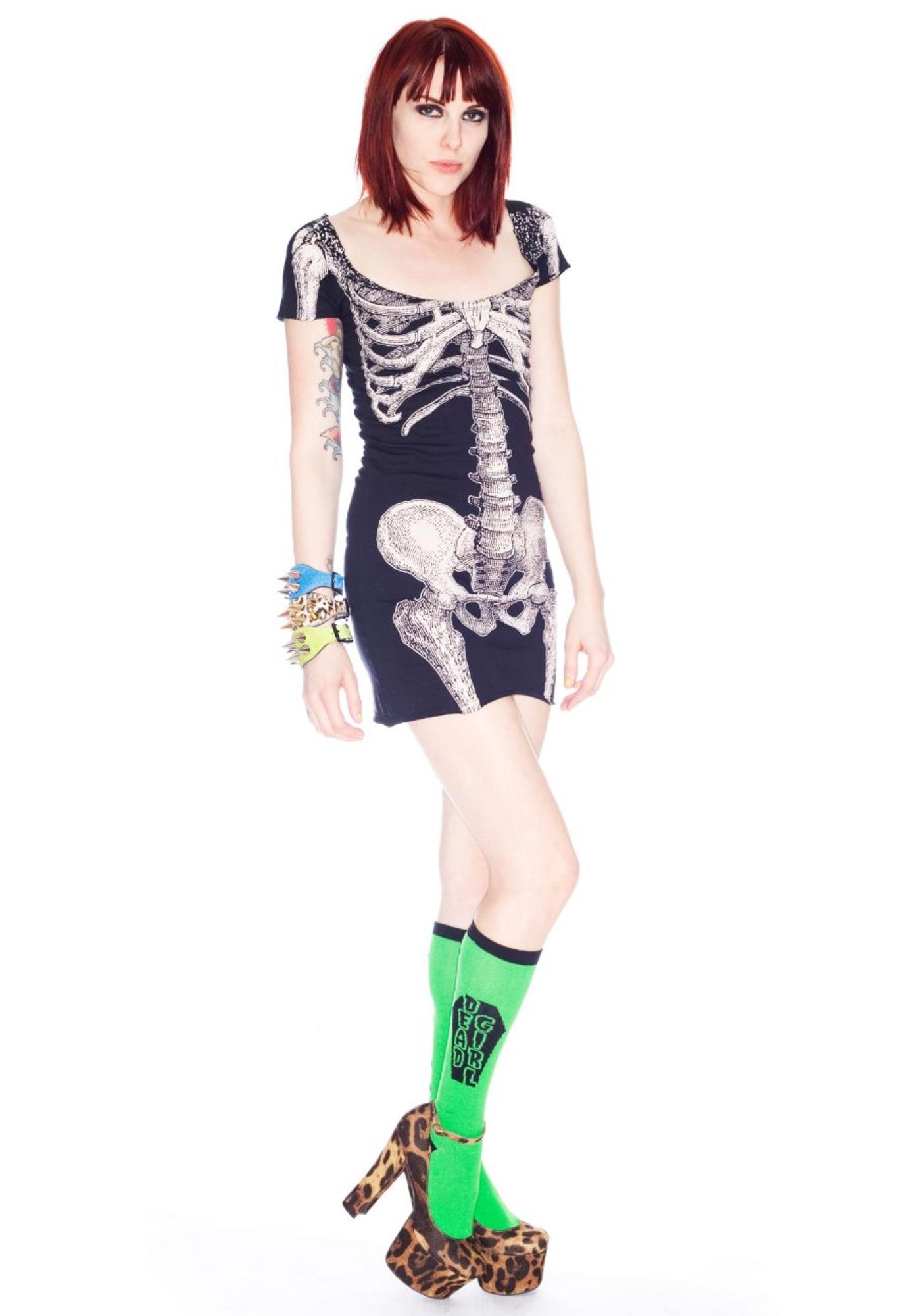Kreepsville 666 Dead Girl Bones Socks