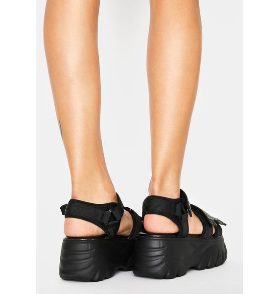 AZALEA WANG Black Pressure Platform Sandals
