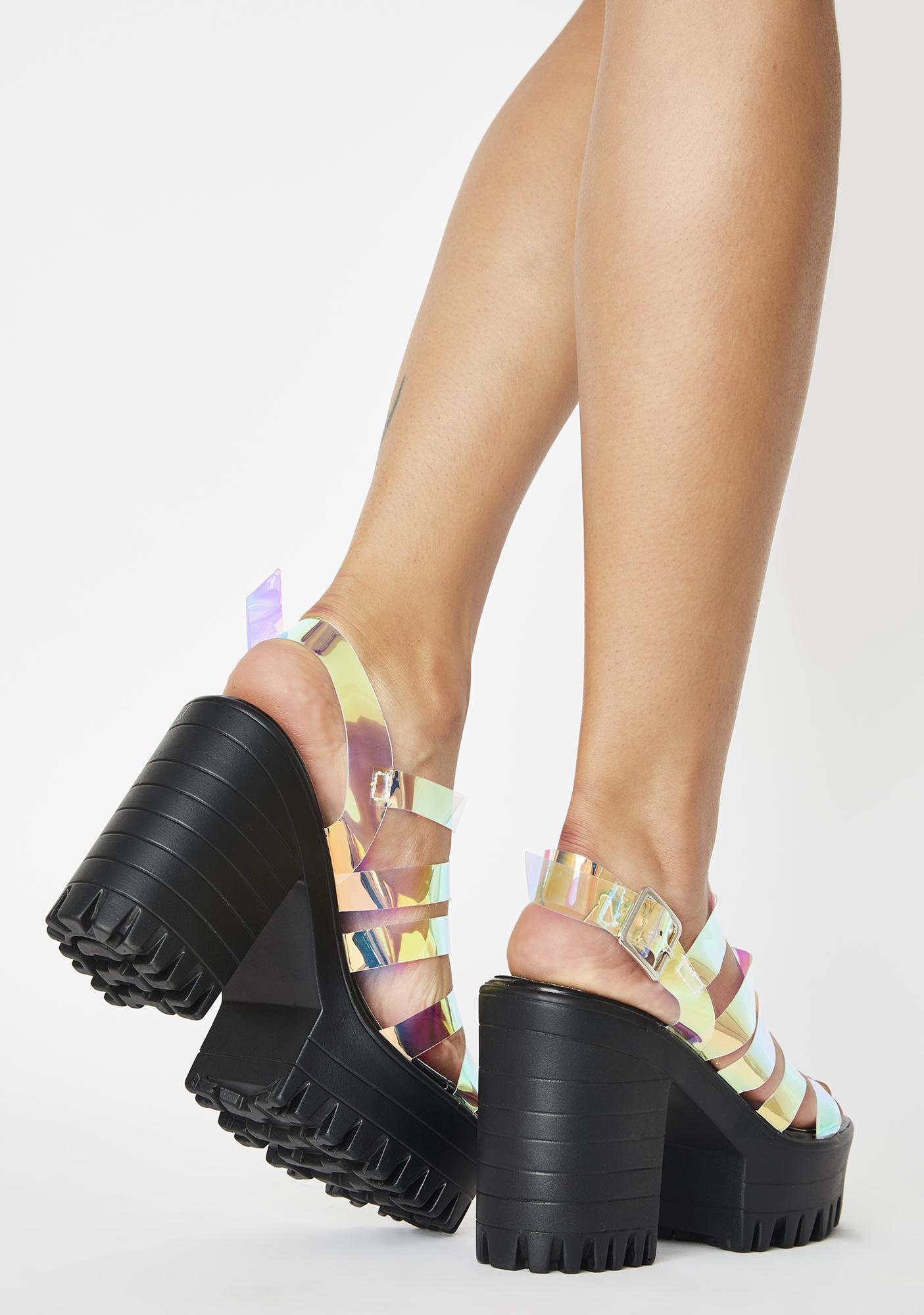 Public Desire Leader Iridescent Sandal Heels