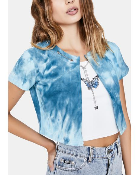 Tie Dye Butterfly Chain Cardigan