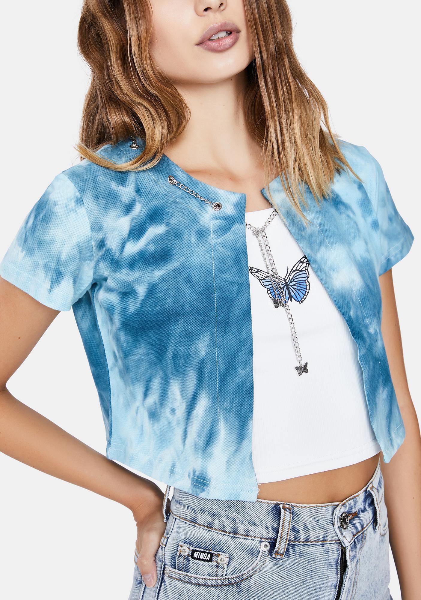 ZEMETA Tie Dye Butterfly Chain Cardigan