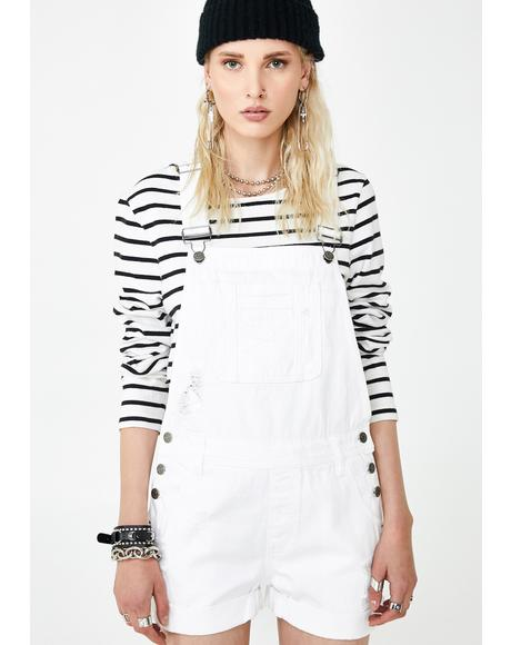 White Boyfriend Shortalls