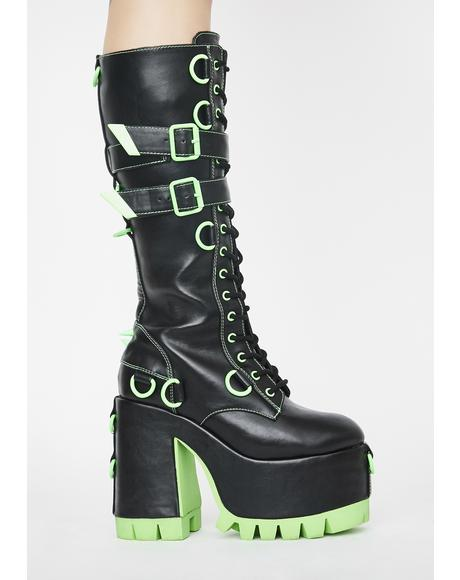 Atomic Wasteland Knee High Boots