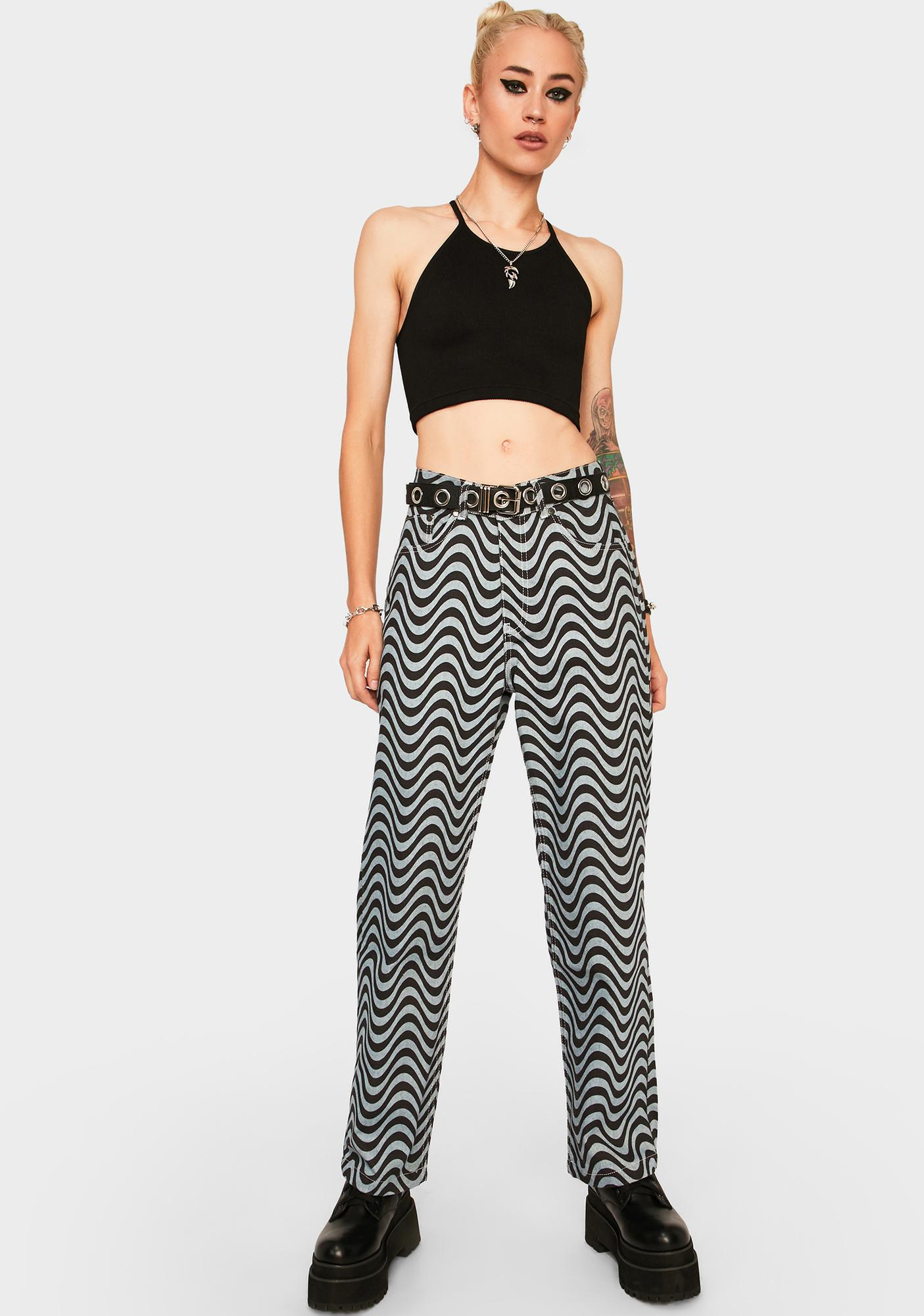 The Ragged Priest Wave Print Dad Jeans