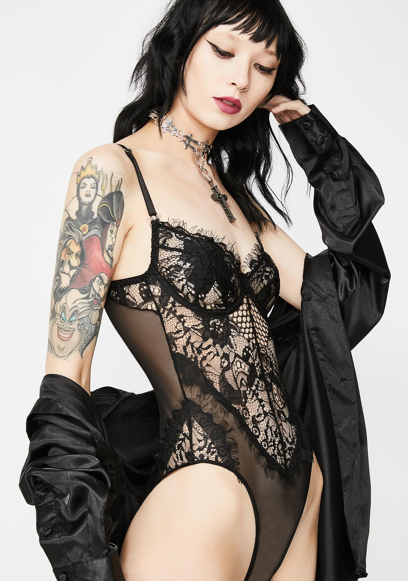Dark Steamy Nights Lace Bodysuit