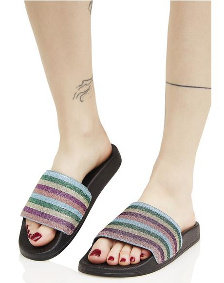 Shimmer Striped Slides