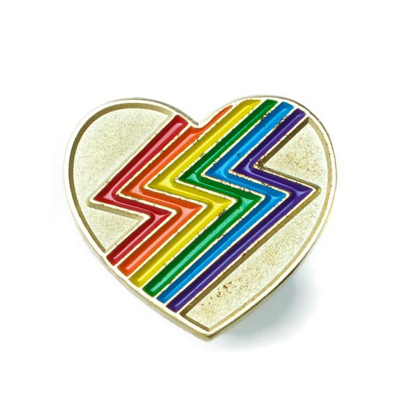 Laser Kitten Rainbolt Heart Pin