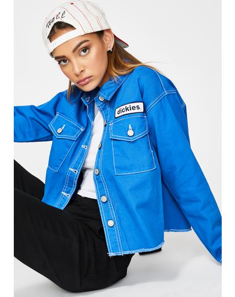 Blue Drop Shoulder Crop Jacket
