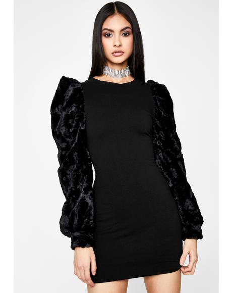 Added Drama Faux Fur Dress