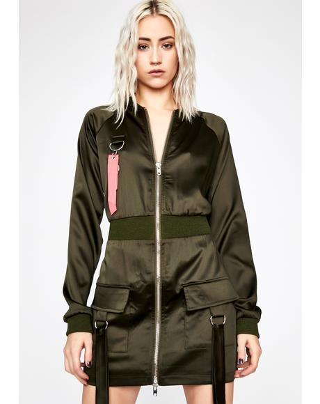 Olive Fierce Response Bomber Dress