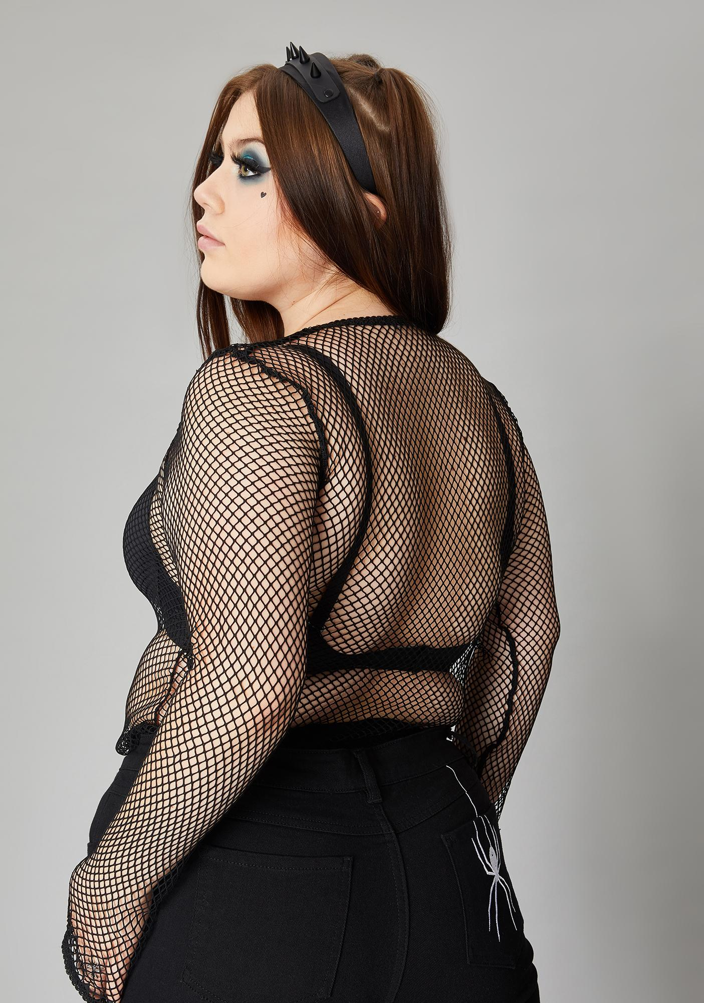 Widow Ink Never Reverse The Curse Fishnet Top
