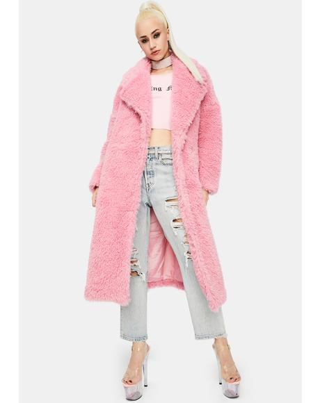 Pink Longline Teddy Coat