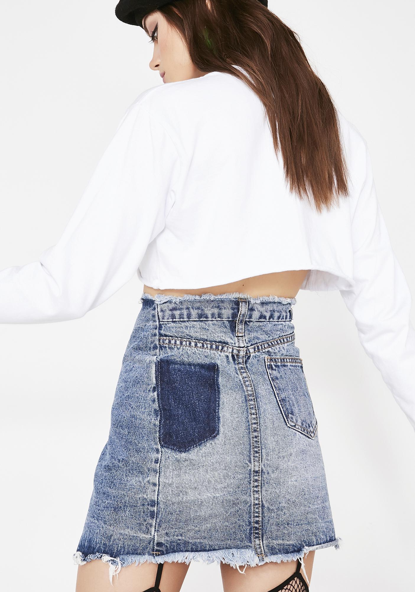 6fab80944073c ... Momokrom Denim Wrap Skirt