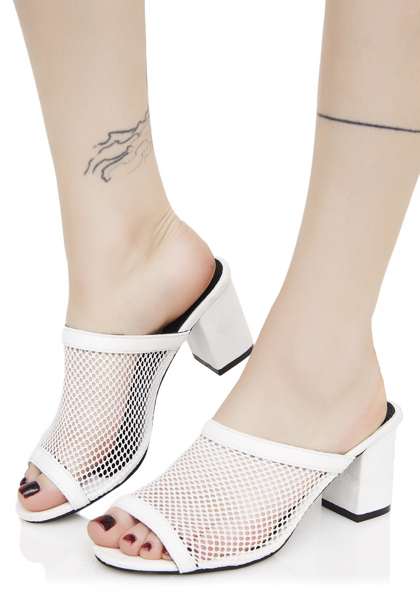 White Mesh Heeled Mules