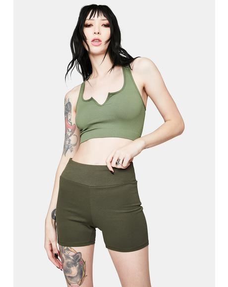 Olive Break A Sweat Biker Shorts