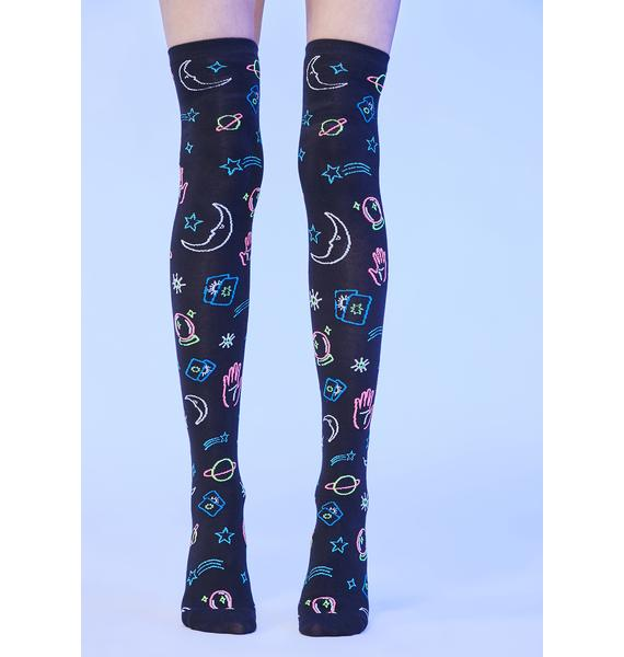 Sign Of The Times Thigh High Socks