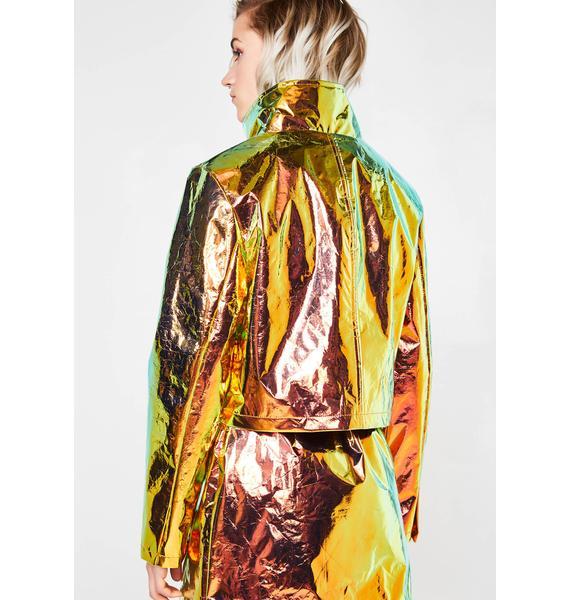 Jaded London Copper Crinkle Foil Crop Jacket With Pockets