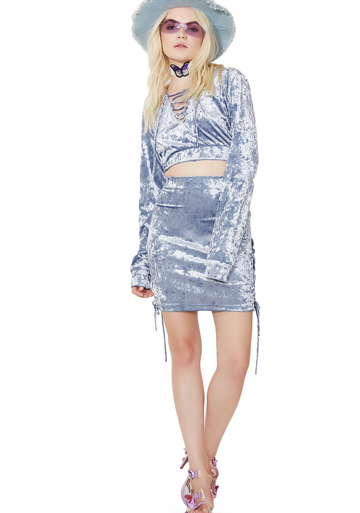Moody Skies Velvet Skirt