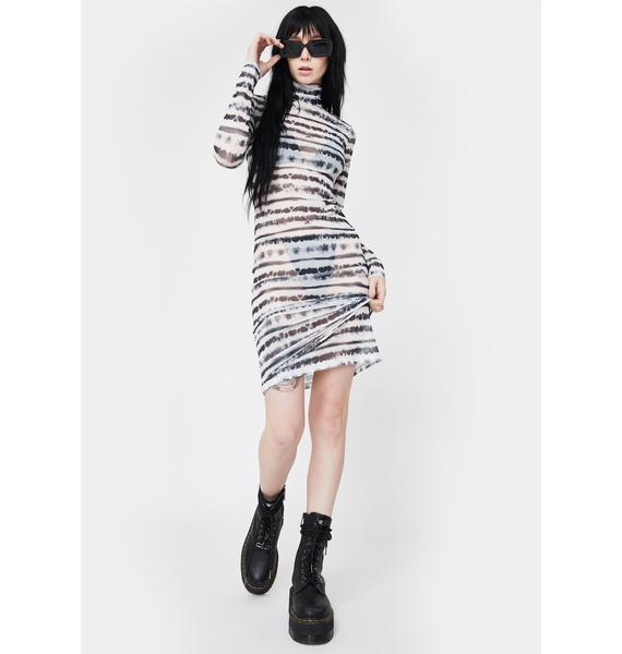 Kiki Riki Slick Gimme A Beat Mesh Midi Dress