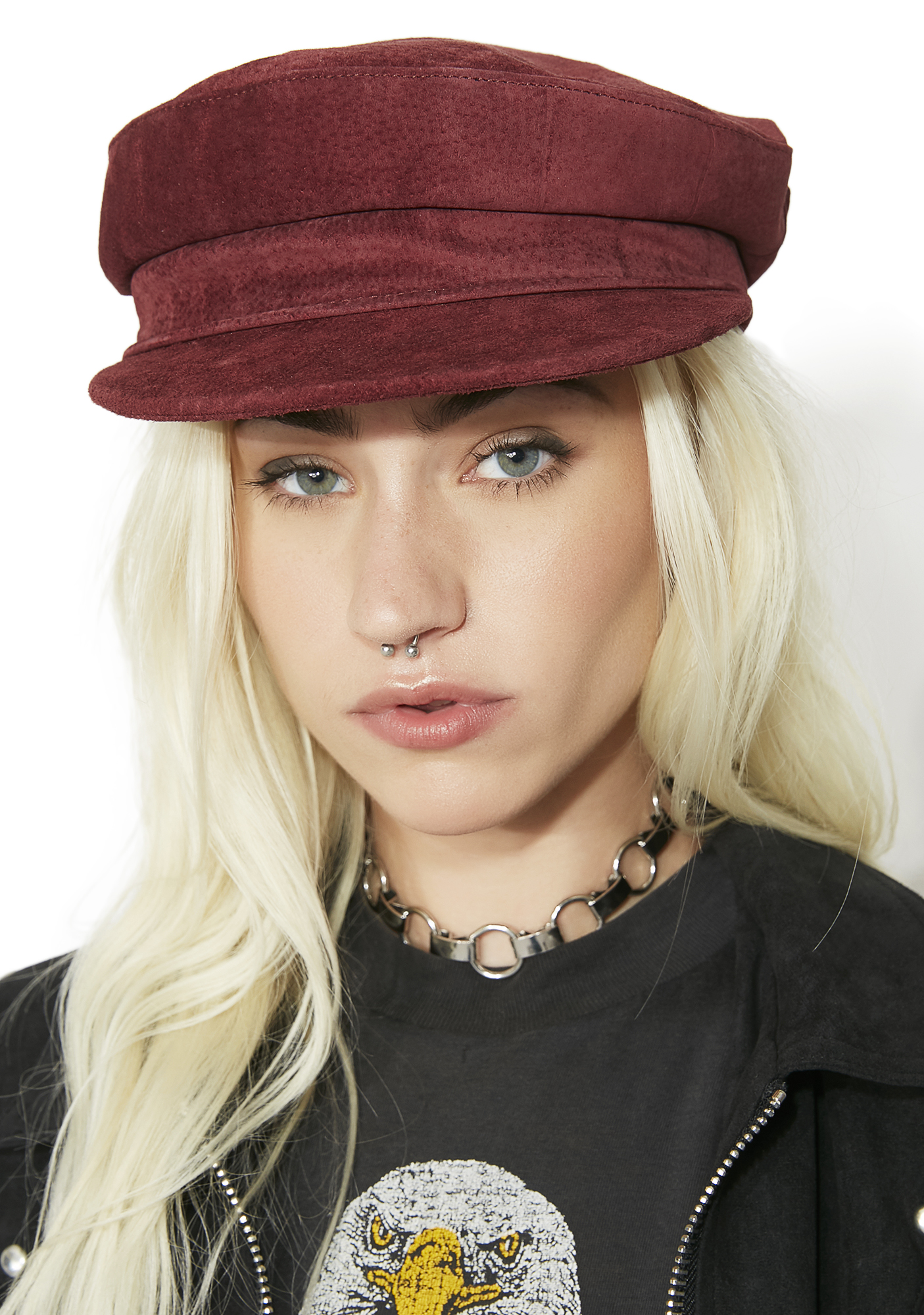 Suede Red Biker Hat