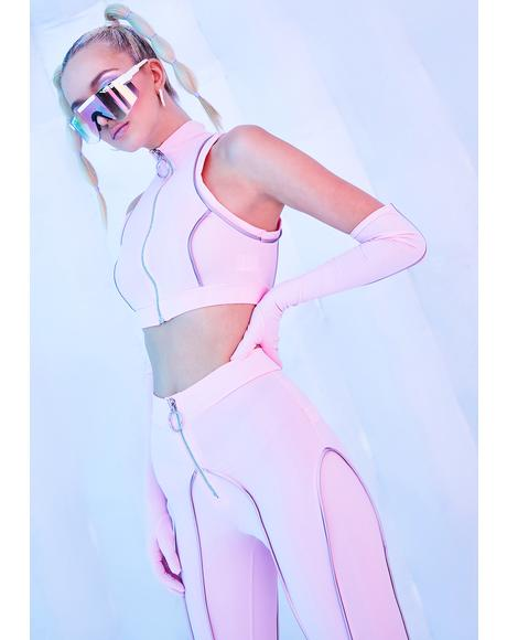 Hyperdrive Reflective Racerback Crop Top Set