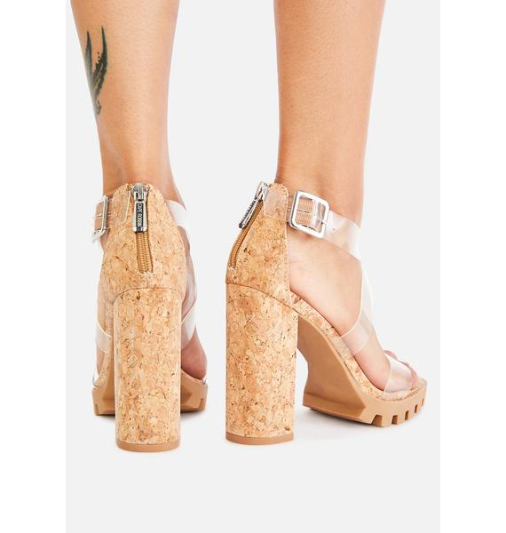 Clear Atomic Alert Cork Heels