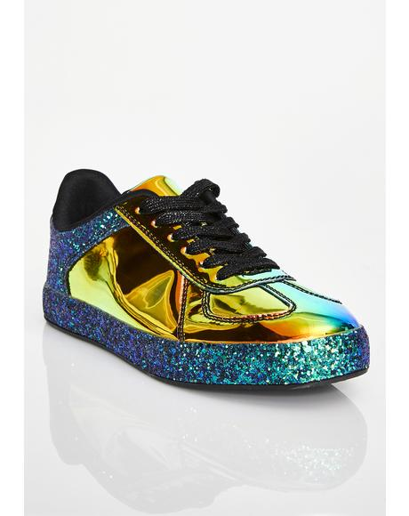 Emerald Cosmic Slide Hologram Sneakers