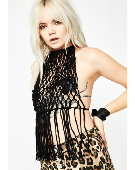 Noir Smoke Me Up Macrame Halter Top