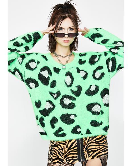 Lime Jungle Wonder Leopard Sweater